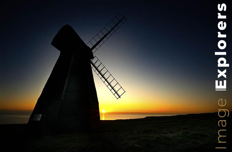 silhouette windmill in Rottingdean Suffolk